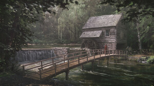 Artwork Nature Bridge River Forest Watermills 1920x929 wallpaper