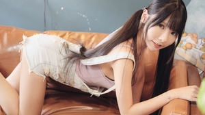 Vicky Women Model Brunette Asian Bangs Twintails Looking At Viewer Overalls Denim Couch Indoors Wome 3840x2560 wallpaper