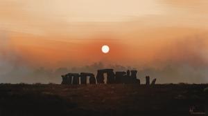 Digital Art Stonehenge Sunset Landscape Momo Artist 3840x2160 Wallpaper