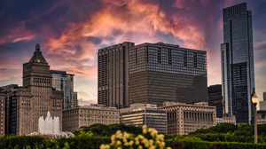 Chicago City Lights Cityscape USA Building Illinois Sky Painting Sunset Sunset Glow 6000x4000 Wallpaper