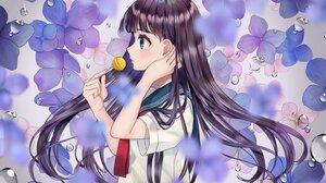 Anime Anime Girls MochiHonpo Artwork Long Hair Dark Hair School Uniform Lollipop 2991x1788 Wallpaper