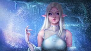 Blonde Blue Eyes Elf Fairy Fantasy Girl Snow Winter Woman 1920x1080 Wallpaper