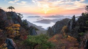 Daedunsan Fall Fog Horizon Korea Landscape Sunset Valley 2048x1406 Wallpaper