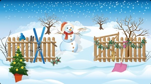 Christmas Drawing Fence Winter 1920x1081 Wallpaper