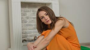 Hair Orange Green Barefoot Women Indoors Blue Eyes Brunette Fireplace Orange Dress Long Hair 3200x4800 Wallpaper