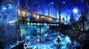 Night Rain Train 3000x1690 Wallpaper