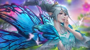Lisa Buijteweg Drawing Women Fairies Pointy Ears Blue Eyes Smiling Blue Hair Looking Away Wings Blue 1920x1080 Wallpaper