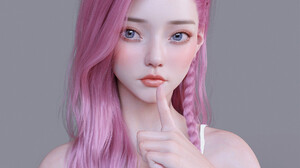 Chen Wang Women Pink Hair Long Hair Blue Eyes Blush Simple Background Seraphine Seraphine League Of  1920x2074 wallpaper