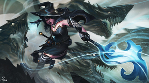 Dragon Staff Witch Witch Hat Woman Warrior 2000x1097 Wallpaper