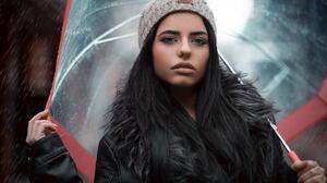 Women Women Outdoors Rain Long Hair Black Hair Leather Jackets Umbrella Face Portrait Bokeh Tanned H 1838x1227 Wallpaper