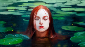 Emma Ronkainen Artwork Lake Young Woman Redhead Digital Painting Closed Eyes Closed Mouth Wet Hair W 1920x1243 Wallpaper