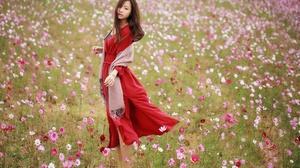 Asian Brunette Cosmos Flower Girl Model Red Dress Woman 2048x1280 Wallpaper