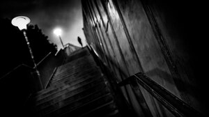Dark Night Steps Street Light Lights Monochrome People Depth Of Field Urban 2048x1536 Wallpaper