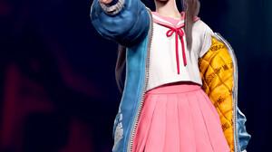 Eunji Lee Women CGi Pink Skirt JK Looking At The Side Ponytail Asian 1336x1898 Wallpaper