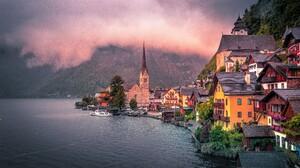 Austria Fog Hallstatt House Lake Village 5184x2916 Wallpaper