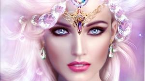 Blue Eyes Face Fantasy Girl Jewelry Lipstick Woman 2000x1600 Wallpaper