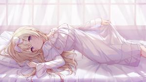 Fusuma Anime Anime Girls Blonde Blue Eyes Dress In Bed 1920x1080 wallpaper