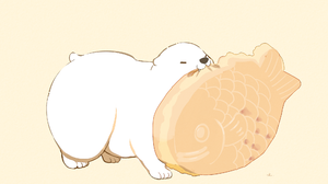 Simple Background Original Characters Food Drawingchisanne Digital Art Polar Bears 2000x1375 Wallpaper