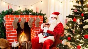 Christmas Christmas Tree Fireplace Santa 2560x1706 Wallpaper