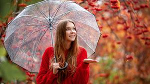 Women Model Brunette Outdoors Portrait Sweater Red Sweater Looking Up Smiling Rain Umbrella Long Hai 2048x1365 Wallpaper