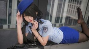 Momoko Aoi Women Model Asian Tokisaki Kurumi Date A Live Police Costume Hat Blue Miniskirt Pistol Bl 1920x1282 wallpaper