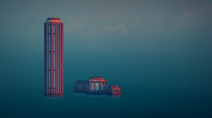 Townscaper Town Skyscraper Skyline Digital Art Video Game Art Video Games Minimalism Architecture 2560x1440 wallpaper