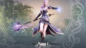 Aion Fantasy Girl Magic Pink Hair Staff Woman 1920x1200 Wallpaper
