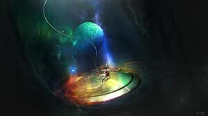 Artwork Fantasy Art Space Planet Astronaut Portals 1600x900 Wallpaper