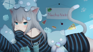 Animal Ears Anime Girls Cat Girl Tail Grey Hair Aqua Eyes Nacho Neko Artwork Amashiro Natsuki 3840x2160 Wallpaper