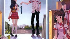 Short Hair Long Hair Brown Hair Glasses Blush Umbrella Bag Rain Flower Tie 2344x1984 Wallpaper