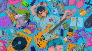 Anime Anime Girls Digital Art Artwork 2D Portrait Najuco Guitar Headphones T Shirt Shorts 2000x1124 Wallpaper