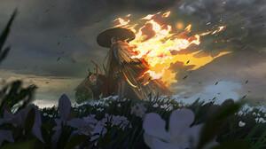 Fantasy Art Fire Straw Hat Eastern Flowers Field Mask Shield Clouds Wind 1920x1020 Wallpaper