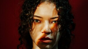Brittany Venti Women Curly Hair Looking At Viewer 1365x2048 Wallpaper
