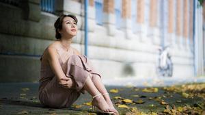 Asian Model Women Depth Of Field Long Hair Dark Hair Women Outdoors Sitting Barefoot Sandal Leaves L 3840x2559 Wallpaper