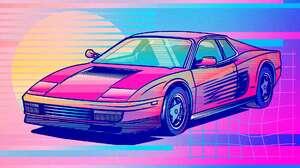 Synthwave Vaporwave Ferrari Testarossa 1980s Pop Up Headlights 1920x1080 wallpaper