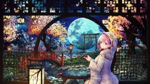 Moon Pink Hair Pink Eyes Tears 7695x4925 Wallpaper