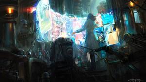 Artwork Digital Art Monitor Computer Hologram Cyan 1654x929 Wallpaper