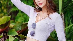 Asian Model Women Long Hair Dark Hair Women Outdoors Sunglasses Shirt Baseball Cap Plants Leaves Bra 1920x2880 Wallpaper
