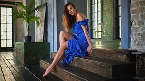 Sergey Fat Model Women Brunette Dark Eyes Dress Blue Dress Legs Feet Bare Shoulders Barefoot Sitting 1920x1080 Wallpaper