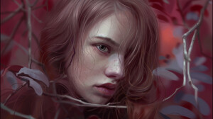 Huy Ozuno Leaves Tree Bark Red Leaves Blonde Closed Mouth Hair In Face Women Drawing Hair Over One E 1748x2500 Wallpaper