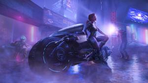Artwork Women Motorcycle Vehicle Futuristic Science Fiction Science Fiction Women Women With Motorcy 1920x980 Wallpaper