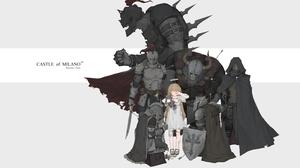 Anime Girls Anime Knight Black Armoury Figure Hugging Armor 3000x1800 Wallpaper