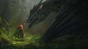 Artwork Fantasy Art Women Redhead Dragon Creature Fantasy Girl 7000x3000 Wallpaper