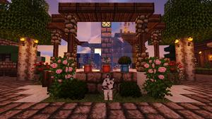 Minecraft Minecraft Nether Landscape Building Lava Bridge Nature Plants Flowers Sky Colorful Green P 1359x800 Wallpaper