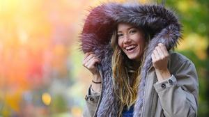 Blonde Blue Eyes Coat Depth Of Field Girl Model Smile Woman 2048x1365 wallpaper