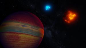 Space Space Art Blender 3D Graphics Gas Giant Sun Red Sun 1920x1080 Wallpaper