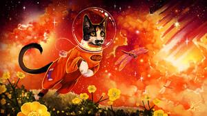 Cats Animals Astronaut Artwork 1920x1080 Wallpaper