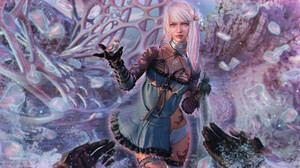 Taisa Kislova Fantasy Art Digital Art Kaine NieR NieR Replicant Birds White Hair Blue Dress 1920x1045 Wallpaper