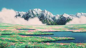 Watercolor Landscape Mountains Studio Ghibli Field 3200x1720 Wallpaper