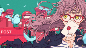 Anime Anime Girls Long Hair Glasses Yellow Eyes Birds Feathers Pink Hair Looking Away Letter Black N 4134x1379 Wallpaper